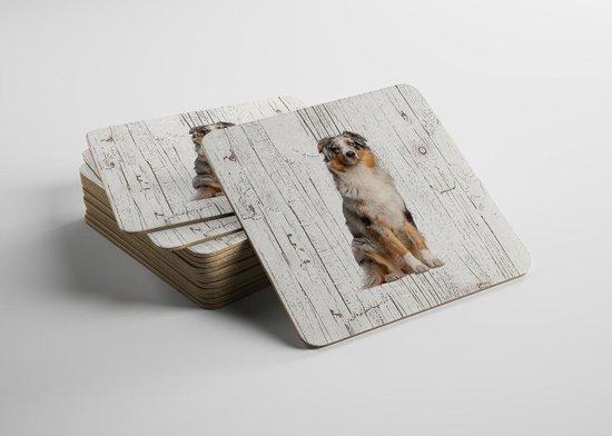 Hond Australian Shepherd Dog | Houten Onderzetters 6 Stuks