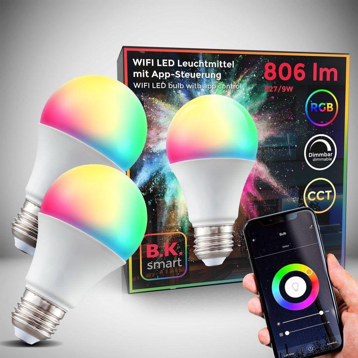 B.K.Licht - Slimme Lichtbron - RGB en CCT - set van 2 - smart lamp - met E27 - 9W LED - WiFi - App - 2.700K to 6.500K - 806 Lm - voice control - color lampjes - LED lamp