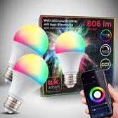 B.K.Licht - smart lamp - smart light - LED WiFi lamp - E27 - RGB en CCT - voice control - set van 2