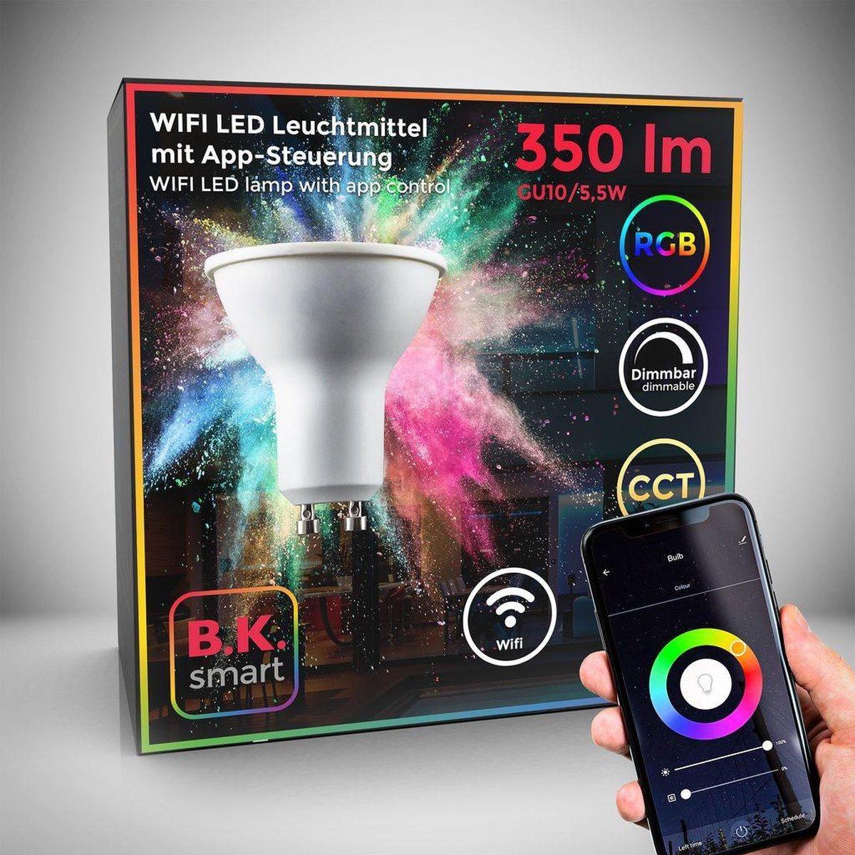 B.K.Licht - Slimme Lichtbron - RGB en CCT - smart lamp - met GU10 - 5.5W LED - WiFi - App - 2.700K to 6.500K - 350 Lm - voice control - color lampjes - LED lamp