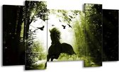Canvas schilderij Paard | Groen, Zwart, Wit | 120x65 5Luik