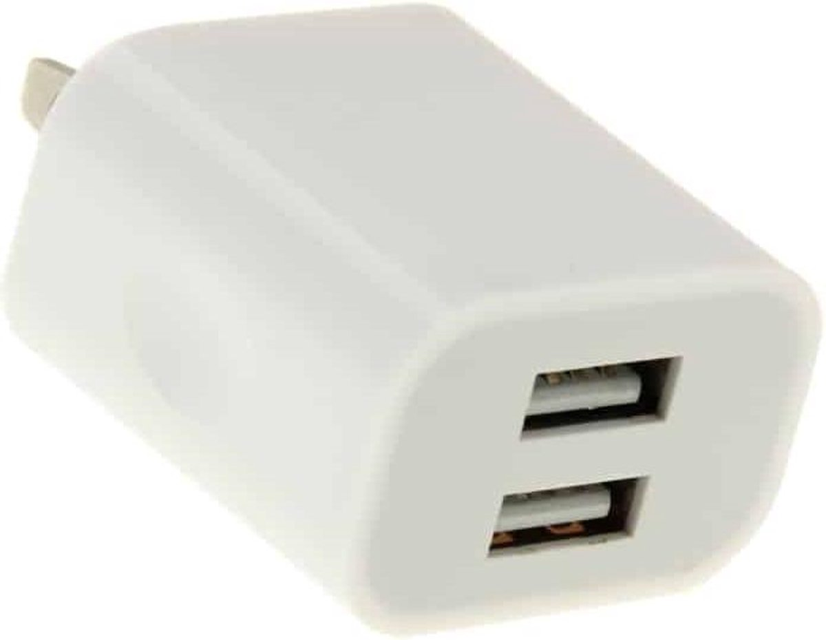 2-poorten 5V 2A US Plug USB-oplader, voor iPad, iPhone, Galaxy, Huawei, Xiaomi, LG, HTC en andere slimme telefoons, oplaadbare apparaten (wit)