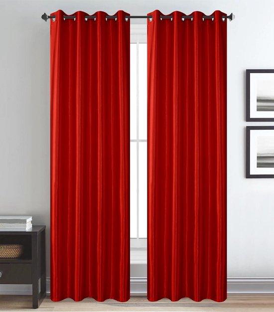 Shine Glans Satijn Ringgordijn - Rood Maat: 270 x 260 cm