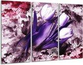 Canvas schilderij Tulpen | Paars, Wit, Roze | 120x80cm 3Luik