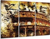 Canvas schilderij Rome | Bruin, Grijs, Zwart | 120x80cm 3Luik