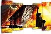 Canvas schilderij New York | Geel, Rood, Zwart | 150x80cm 5Luik