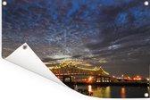 Horace Wilkinson brug met wolkenformaties in het Amerikaanse Baton Rouge Tuinposter 180x120 cm - Tuindoek / Buitencanvas / Schilderijen voor buiten (tuin decoratie) XXL / Groot formaat!