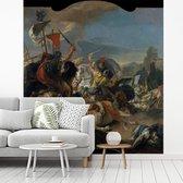 Fotobehang vinyl - De slag bij Vercellae - Schilderij van Giovanni Battista Tiepolo breedte 350 cm x hoogte 380 cm - Foto print op behang (in 7 formaten beschikbaar)