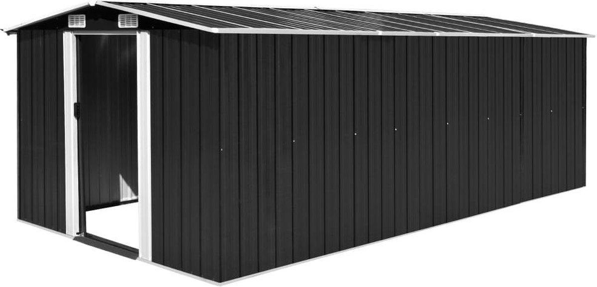 VidaXL Tuinschuur 257x489x181 cm metaal antracietkleurig online kopen