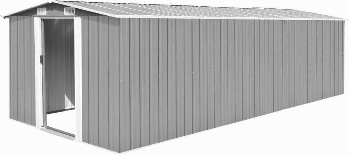 VidaXL Tuinschuur 257x597x178 cm metaal grijs online kopen