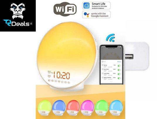 TR Deals | Wake Up light- Lichtwekker - Wekkerradio met natuurgeluiden – Nachtlampje – Bedlamp – Zonlicht simulatie – Smartapp