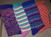 4 PAAR Antibacteriële katoenen sokken happy kleuren maat 39-42