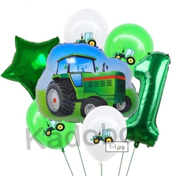 Tractor ballonnen set 1 jaar verjaardag - folie ballonnen 7 delig