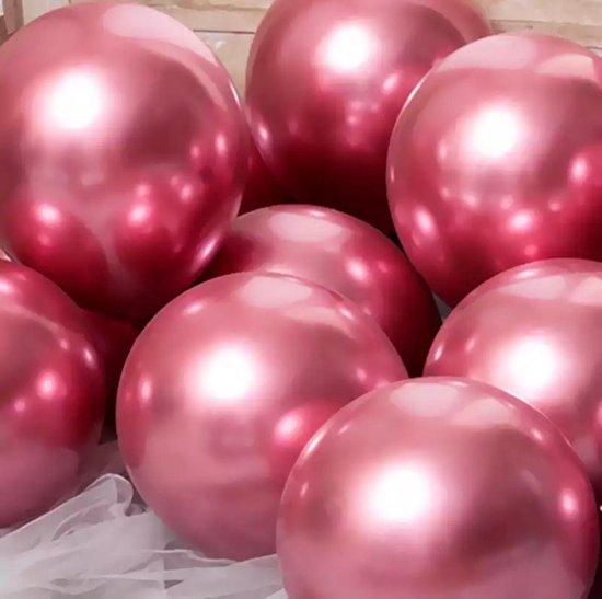 Luxe Ballonnen set - 20 stuks - Chrome Metal look - Latex - Feestdecoratie - Verjaardag - Party Balloons - Feestje - roos