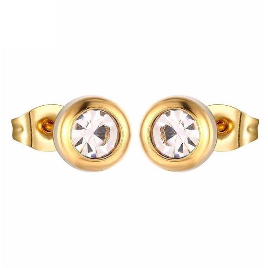 Aramat jewels ® - Ronde zweerknopjes zirkonia transparant goudkleurig chirurgisch staal 6mm