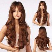 Pro-Care Blonde Ombre Bruin Kleur Pruiken Dames - 65 cm Lang Golvend Haar - Wig - Verstelbaar - Vederlicht 240g