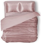 Elegance Silk Dekbedovertrek Glans Satijn - Light Pink - 200x200/220cm - 2 Persoons - Met 2 Kussenslopen 60x70