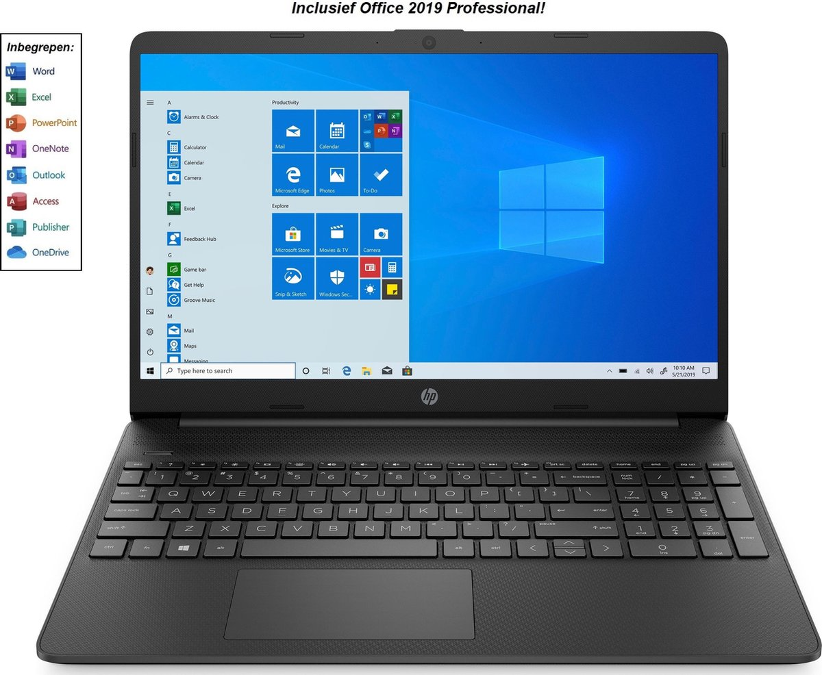HP 15 inch laptop - Full HD - AMD Athlon Gold - 8GB RAM - 256GB SSD - Windows 10 Home - incl. Office Professional! (verloopt niet, geen abonnement)