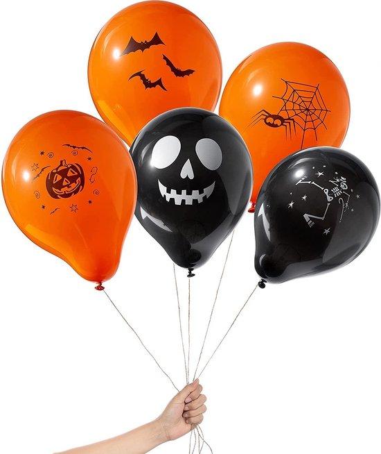 The Twiddlers - 100 Stuks latex Halloween ballonnen - Hoge kwaliteit party ballonnen decoratie oranje en zwart