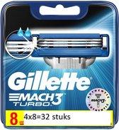 Gillette Mach 3 Turbo Blister Scheermesjes - 4 x 8 stuks - Voordeelverpakking