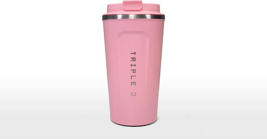 Koffiebeker To Go | Herbuikbare Koffiebeker | Thermosbeker Auto | Duurzame Koffie Beker | Thermosfles | RVS Reisbeker | Dubbelwandige Travel Mug | 510 ml | Roze