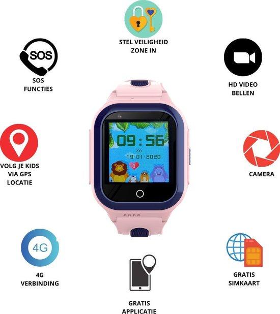 GPS Horloge 4 YOU - GPS Horloge kind - GPS Tracker - Smartwatch voor kinderen - Kinderhorloge - Gratis simkaart en Gratis app - SOS Knop - 4G verbinding- Waterdicht - Live GPS Locatie - HD (Video)bellen - Veiligheidzone instellen - Camera - Roze 24S