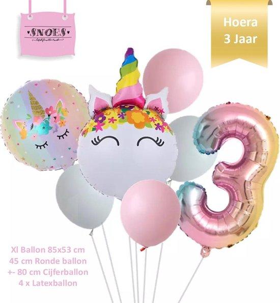 Unicorn * Eenhoorn * Ronde Ballonnen Set * Hoera 3 jaar * Cijfer 3 Ballon * Snoes * Verjaardag * Kinderfeest * Versiering eenhoorn * Set + Gratis Rietje