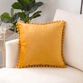 Lucy's Living Luxe sierkussen Velvet POMPOM geel/oranje - 45 x 45 cm - kussen - kussens - fluweel - wonen - interieur