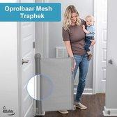 ADSafety - Oprolbaar Traphekje - Grijs - Veiligheid in huis - Luxe Mesh - Veiligheidshekje voor Baby - Kinderhekje - Hondenhek