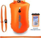 Zwemboei voor Veilig Openwater en Triatlon Zwemmen - Zwem Boei - Reddingsboeien - incl. drybag /Saferswimmer/Safe swimmer/ 20 Liter + Waterdichte smartphone hoes - Waveslider®