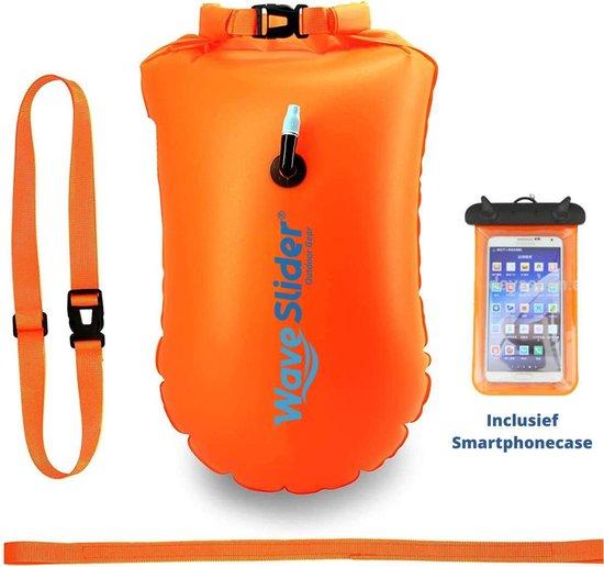 Zwemboei voor Veilig Openwater en Triatlon Zwemmen - Zwem Boei -Reddingsboeien - incl. drybag /Saferswimmer/Safe swimmer/ 20 Liter + Waterdichte smartphone hoes - Waveslider®