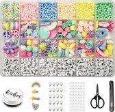 Riches® Kralenset Pastelkleuren – Pastelkralen en Letterkralen – Sieraden Maken – Meisjes & Kinderen – Pastelkleuren – Hobby Kit Voor Sieraden Maken – Kralen set – Bedels – Kralendoos
