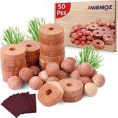 AWEMOZ® Mottenballen - Set van 50 Stuks - Cederhout tegen motten - Motten Bestrijden - Mottenval