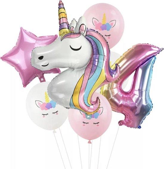 Unicorn ballon - 4 jaar - Dieren ballon - Kinderfeestje - Vier jaar - Verjaardagfeest - ballonnen pakket - Kinderfeestje pakket - Unicorn ballonnen pakket