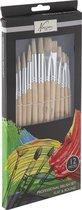 Nassau Fine Art Penselenset | 12 stuks | Schilderen voor kinderen en volwassenen |Penselen | Geschikt voor acrylverf -olieverf -aquarelverf