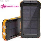 SOLBIX® Powerbank 30000mAh - Iphone en Samsung - USB C - met Solar en Zaklamp - 4 USB poorten - Zonne Energie - Mobiele oplader - Zwart