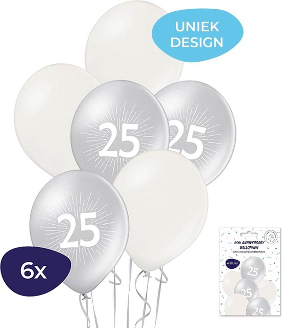 25 jaar ballonnen - Jubileum ballonnen - 25 jaar getrouwd - 25 jaar verjaardag - 25 jaar - 6 stuks