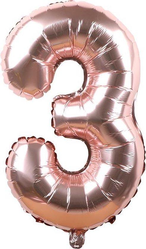 Folieballon / Cijferballon Rose Goud - getal 3 - 41cm