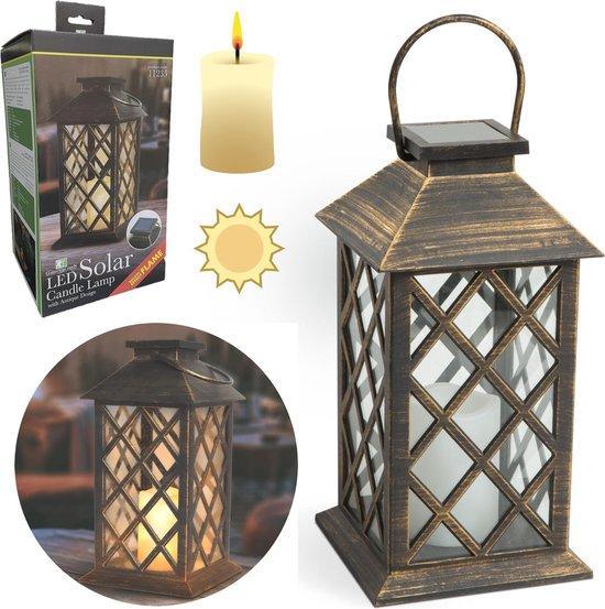 Vintage Landelijke Tuin Lantaarn met LED Kaars Solar - Windlicht op...