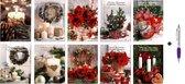 50 Luxe Kerst- en Nieuwjaarskaarten met Pen- 9,5x14cm - 10 x 5 dubbele kaarten met enveloppen - serie Christmas