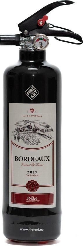 By Roon Design brandblusser - kunst - Bordeaux design inclusief muurbeugel - Wijnliefhebbers - Mancave - Fles wijn Bordeaux look a-like - eye-catcher