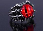 Gothic Klauw-ring met rode Drakenoog  / verstelbaar / Unisex /  Halloween