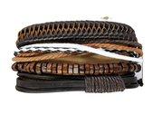 Leren Armband set  met trekkoord / leer/ hout bruin/zwart 4-delig