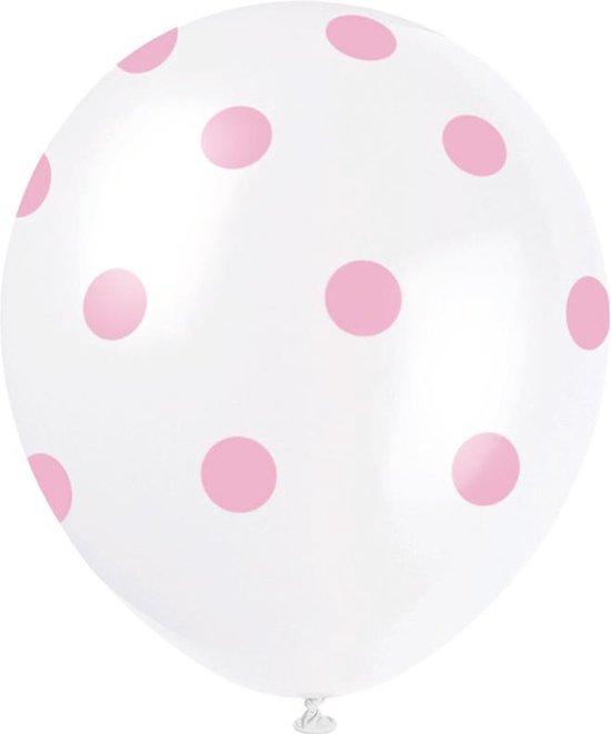Ballonnen Stippen Lichtroze 30cm 6st