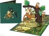 Popcards popupkaarten – Aap Aapjes in een boom Feest Party Dierentuin Jungle Verjaardagskaart Felicitatie Verjaardag pop-up kaart 3D wenskaart