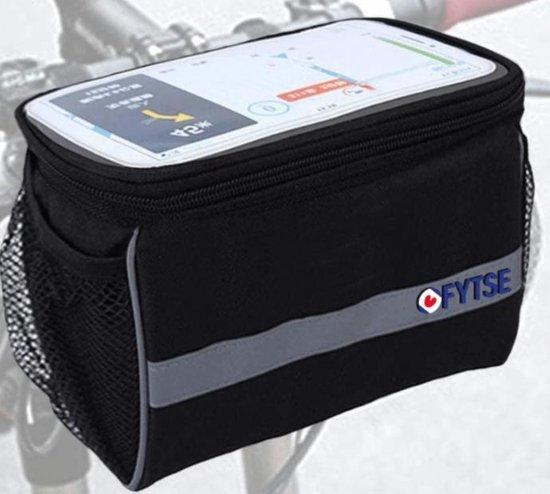 FYTZE Stuurtas - Afneembare Fietstas Stuur Met Smartphone / Telefoon Houder & Kaartlezer (Kaarthouder) - Afneembaar - Waterproof - Zwart