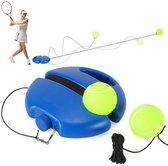 FitPure Tennistrainer + 2 Tennisballen Met Elastiek - Tennis Trainer Voor Buiten En Binnen - Extra Stevig - Gemakkelijk Te Gebruiken - Geel | Blauw