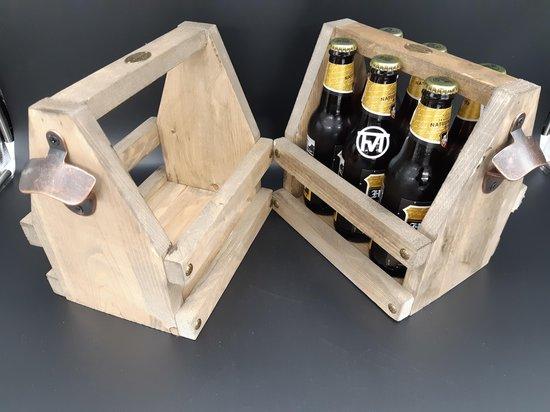 Bieropener met houten kist - flessenopener - mancave decoratie - bierpakket - cadeau - bierkratje - Beer caddy