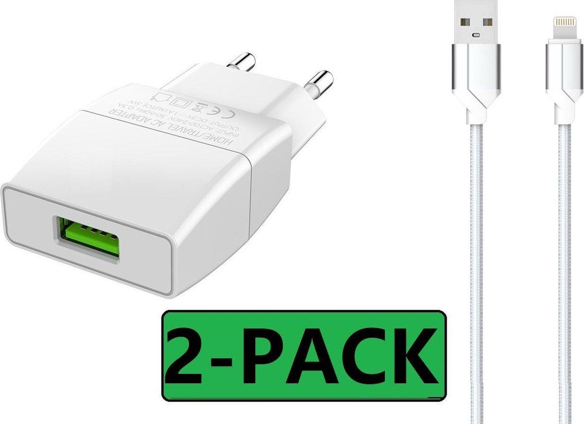 2x iPhone oplader met kabel geschikt voor Apple iPhone 6,7,8,X,XS,XR,11,12,Mini,Pro Max- iPhone kabel - iPhone oplaadkabel - iPhone snoertje - iPhone lader