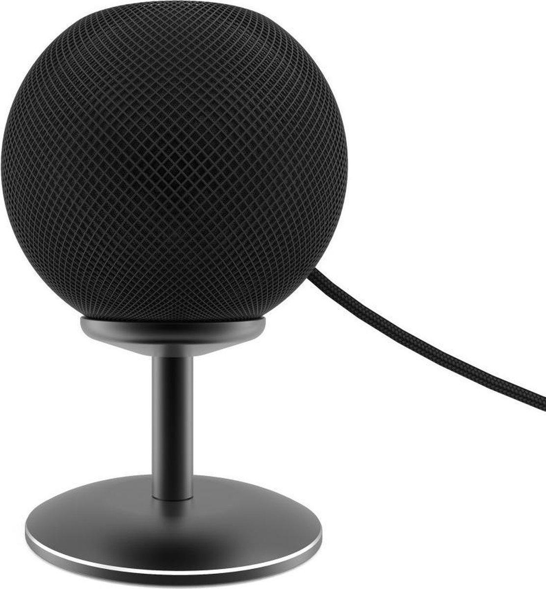 Luxe Aluminium Dock Charger Standaard Houder Voor Apple Homepod Mini Smart Speaker - Docking Station Oplaadstation Desk Mount - Tafel Stand Steun - Display Oplaad Stand - Laadstation - Tafel/Bureau/Nachtkastje- Antislip - Zwart